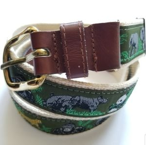 belt animals green leather and solid brass buckle